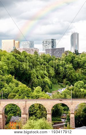 Landscape view on the old railway bridge and modern business district in Luxembourg city