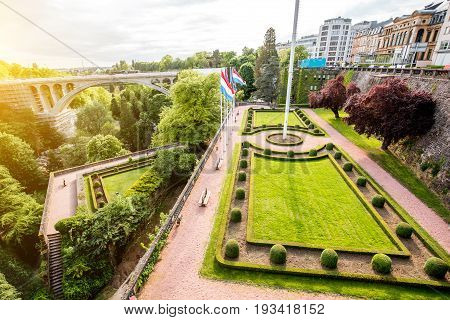 View form the constitution square on the park and Adolphe bridge in Luxembourg city