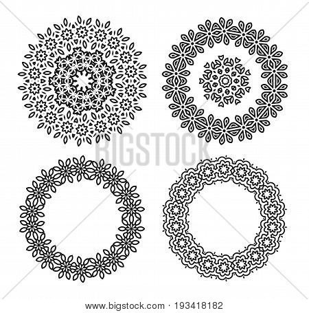 Linear carelessly drawn by hand a vector sketch ornamental mandala set. Abstract monochrome line art backdrop template collection. Black Florist decorative border design. Beauty illustration