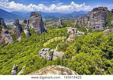 Amazing Panorama On The Valley Of The Monasteries Of Meteora, Gr