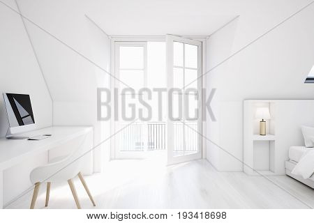 White attic bedroom with a home office white walls and wooden floor a table with a computer and a bed. 3d rendering mock up