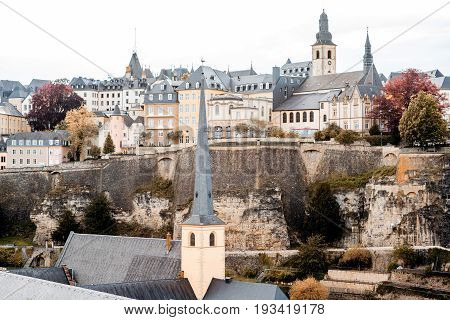 View on the old town with beautiful buildings and churches in Luxembourg city