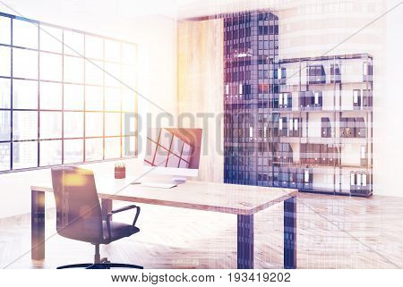 White loft office interior with a round table a bookcase with binders white walls and a rectangular window with a square pattern Side view 3d rendering mock up toned image double exposure