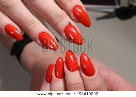 Manicure With Red Nails Design