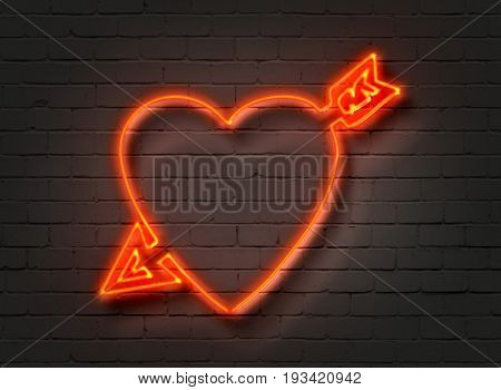 Heart With Arrow, Neon Sign On Brick Wall