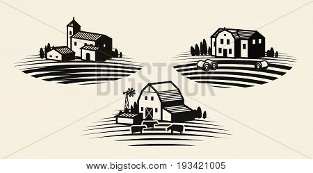 Farm, farming label set. Agriculture, agribusiness farmhouse icon or logo