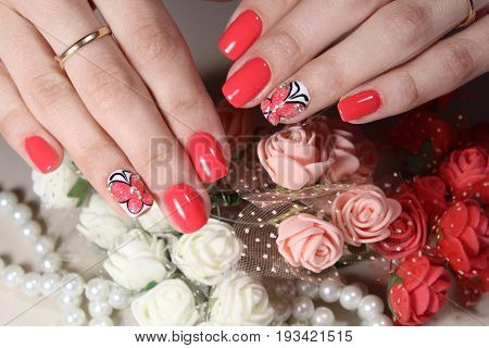 Beautiful Manicure Design With Butterfly
