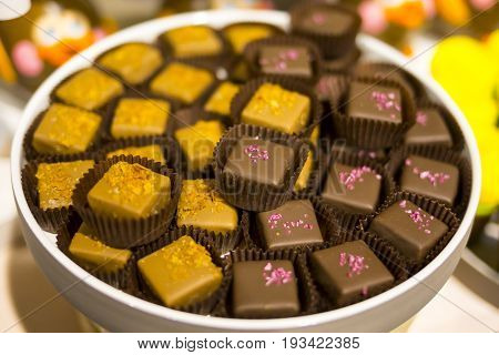 Caramel And Chocolate Candy Cubes