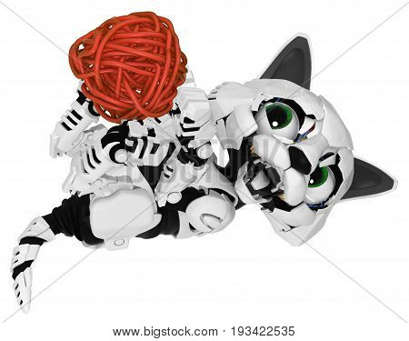 Robotic kitten playing with string ball 3d illustration horizontal isolated