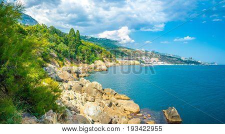 Panorama of the Coast of the Southern coast of Crimea. Black Sea Coast near Alupka