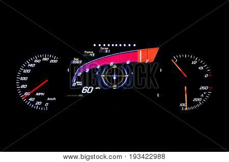 Modern Light Car Mileage On Black Background 60 Mph
