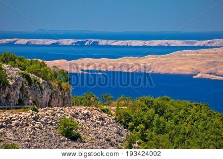 Velebit Channel Seaside Road And Desert Islands Of Pag And Rab View