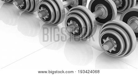 Dumbbells On White Background. 3D Illustration