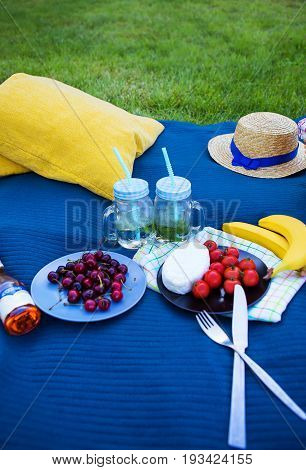 Bright summer picnic on nature-summer, sun, happiness