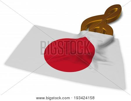 clef symbol symbol and flag of japan - 3d rendering