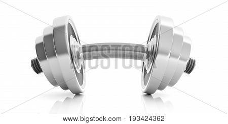Bended Dumbbell On White Background. 3D Illustration
