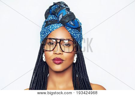 Black Woman In Headscarf And Trendy Glasses