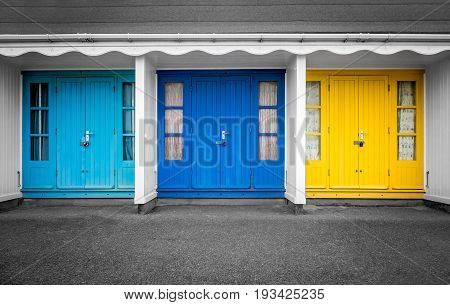 Colourful beach huts doors in Bournemouth, Dorset, England
