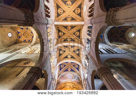 Lucca, Italy - April 07, 2017: Interior of Lucca Cathedral of St. Martin