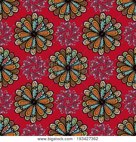 Seamless pattern with flowers on motley background. Vector illustration of flowers.