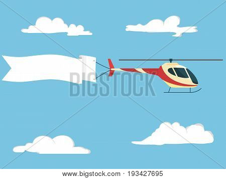 helicopter with blank poster. Air vehicle with banner. Propeller transport with white ribbon in blue sky. Vector