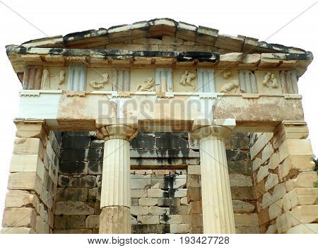 The Treasury of the Athenians, Archaeological Site of Delphi, UNESCO World Heritage Site in Greece