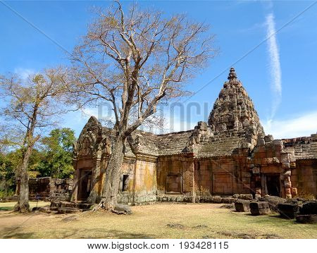 Impressive Prasat Hin Phanom Rung Ancient Khmer Temple under Vibrant Blue Sky, Buriram Province of Thailand