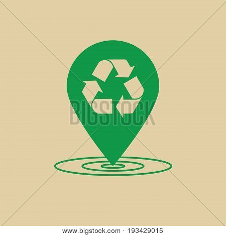 Recycle Symbol Green Arrows Logo Web Icon Vector Illustration