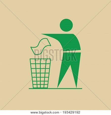 Man Throw Rubbish In Bin Recycle Utilization Logo Web Icon Vector Illustration