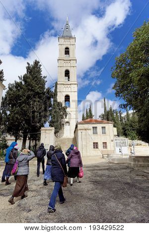 Jerusalem Israel. - February 15.2017. Savior of the Ascension Convent of the Russian Orthodox Church in Jerusalem. The Russian candle. The Mount of Olives. Church of the Ascension in Jerusalem