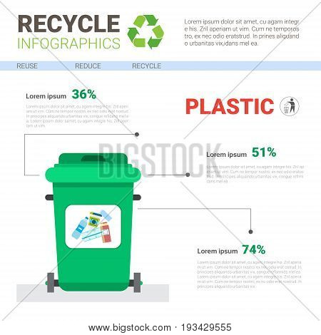 Rubbish Container For Plastic Waste Infographic Banner Recycle Sorting Garbage Concept Vector Illustration