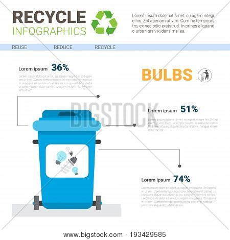 Rubbish Container For Bulbs Waste Infographic Banner Recycle Sorting Garbage Concept Vector Illustration