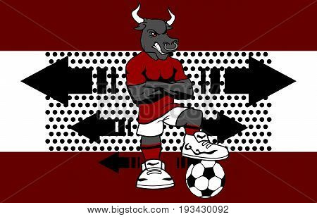 strong sporty bull soccer player cartoon background in vector format