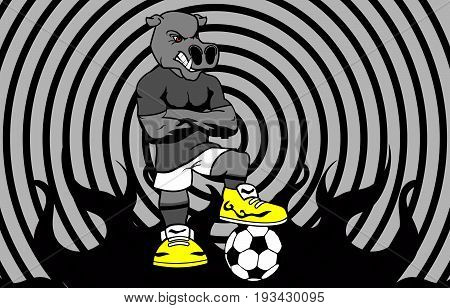 strong sporty hippo soccer player cartoon background in vector format