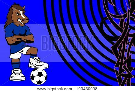 strong sporty horse soccer player cartoon background in vector format