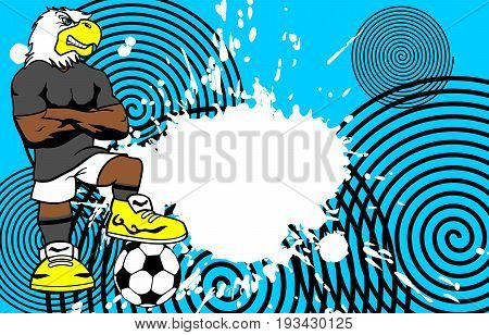 strong sporty eagle soccer player cartoon background in vector format