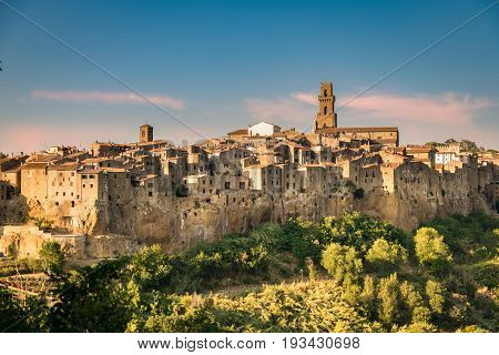 Panorama of Pitigliano a town built on a tuff rock one of the most beautiful villages in Italy.