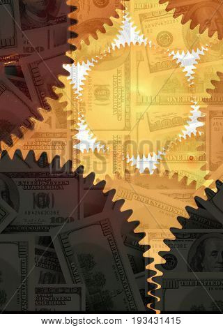 conceptual image of gear combination and money