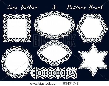 Set of lace napkins and pattern brush. For scrapbook templates design baby shower cards and invitations. Vector illustration.