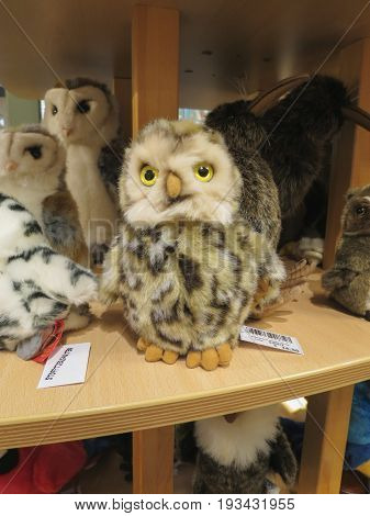 HAMBURG GERMANY - CIRCA NOVEMBER 2016: plush toys store with plush animals on display