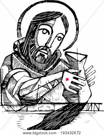 Hand drawn vector illustration or drawing of Jesus Christ potter