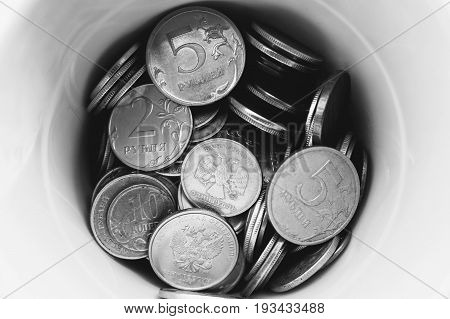 Box of coins (russian rubles).  Black and white version.