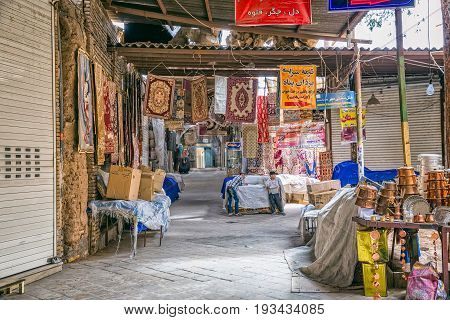 YAZD, IRAN - MAY 5, 2015: Bazaar interior in the old part of the city during afternoon break.