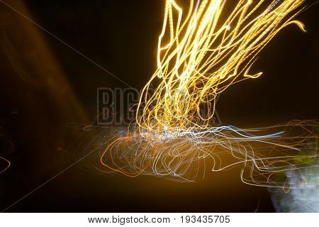 Street Lights In Speeding Car In Night Time, Light Motion With Slow Speed Shutter.