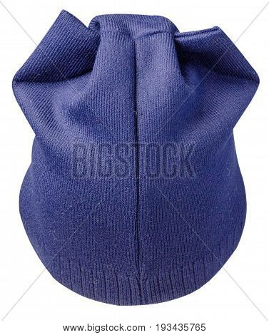 Women's Hat . Knitted Hat Isolated On White Background . Blue Hat .