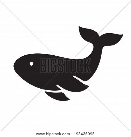 Whale silhouette icon. Simple stylized vector illustration.