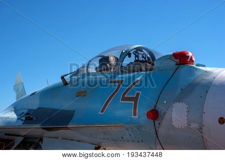 Pushkin, Russia - June 5, 2017: The cabin of a jet fighter pilot of Sukhoi SU27M - for NATO codification: Flanker-B. Soviet - Russian all-weather multi-purpose fourth generation fighter, developed in OKB Sukhoi.