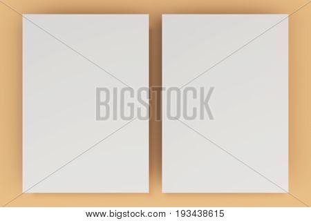 Blank White Flyer Mockup On Orange Background
