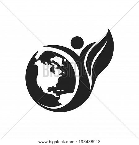 earth logo design, earth with leaf logo design