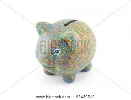 Colorful painted piggy bank with clipping path